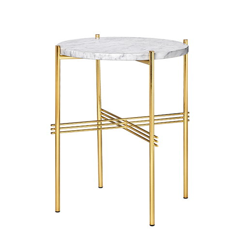 Gubi TS coffee table, 40 cm, brass - white marble