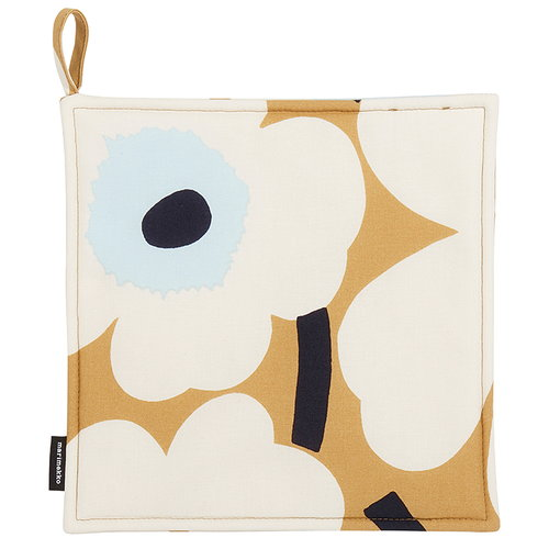 Marimekko Pieni Unikko pot holder, beige-off white-blue