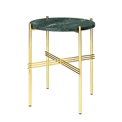 Gubi TS coffee table, 40 cm, brass - green marble