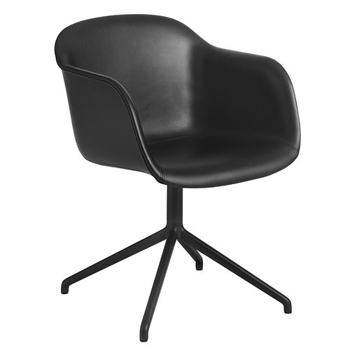Muuto Fiber armchair, swivel base, black leather