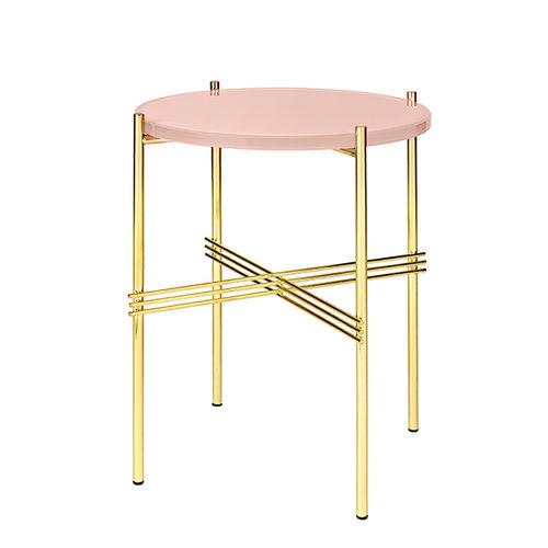 Gubi TS sohvapöytä, 40 cm, messinki - pinkki lasi
