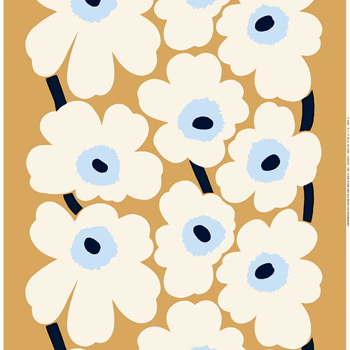 Marimekko Unikko fabric, beige - off white - blue