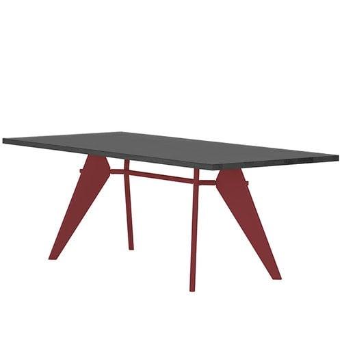 Vitra Em Table 240 x 90 cm, asphalt - japanese red