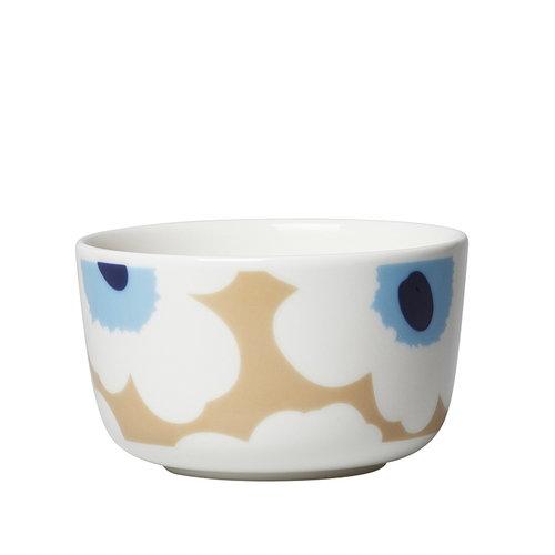 Marimekko Oiva - Unikko kulho 2,5 dl, beige-valkoinen-sininen