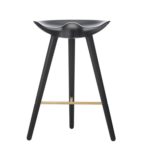 By Lassen ML42 bar stool, 69 cm, black stained beech, brass