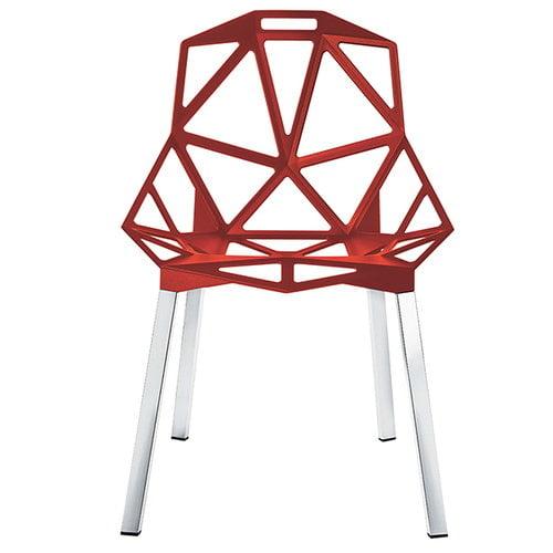 Magis Chair One tuoli, punainen, kiillotetut alumiinijalat