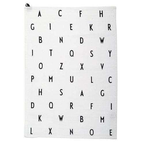 Design Letters Arne Jacobsen keitti�pyyhe, Vintage ABC, valkoinen