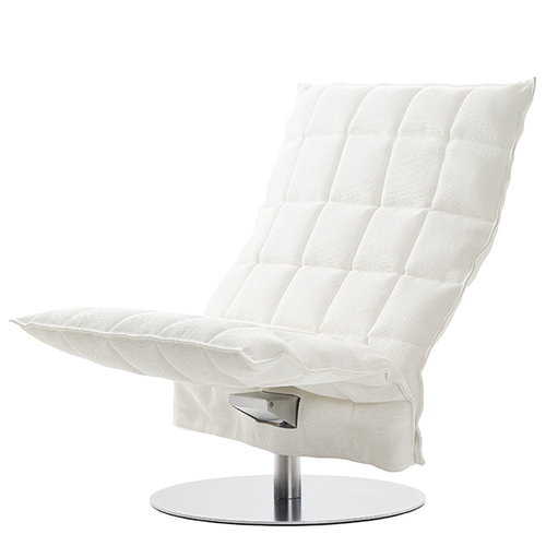 Woodnotes K chair, swivel base, wide, white