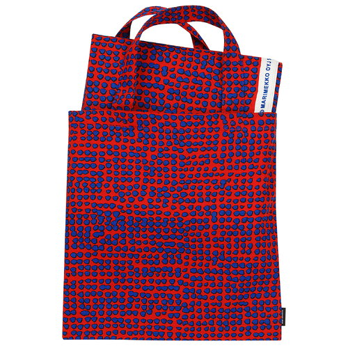 Marimekko Orkanen bag & fabric set, red - blue