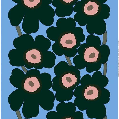 Marimekko Unikko fabric, light blue - peach