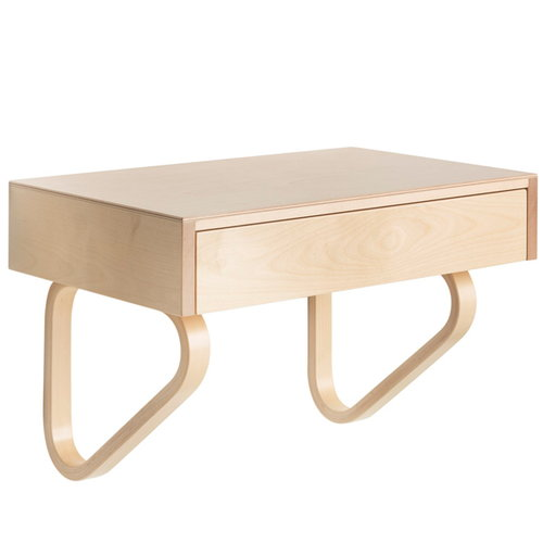 Artek Aalto wall drawer 114B, natural lacquered