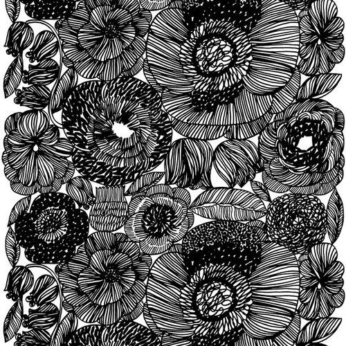 Musta Kangas Olkalaukku : Marimekko kurjenpolvi kangas musta finnish design