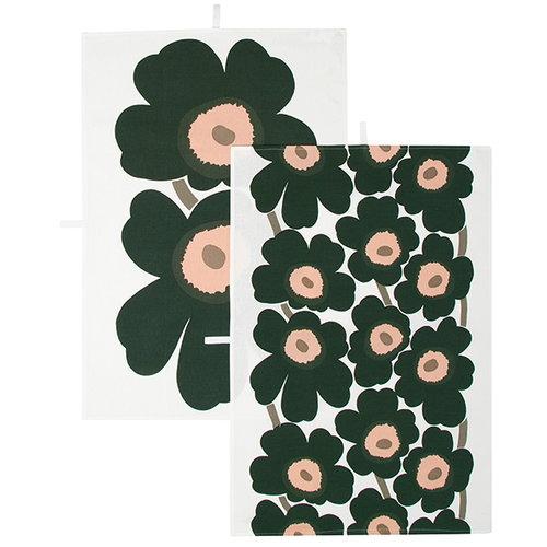 Marimekko Unikko tea towel, 2 pcs, peach - dark green