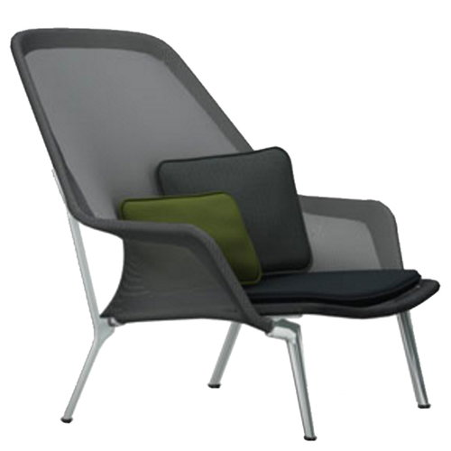 Vitra Slow Chair, black - aluminium