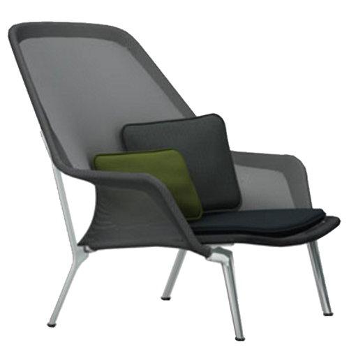 Vitra Slow Chair, musta - alumiini