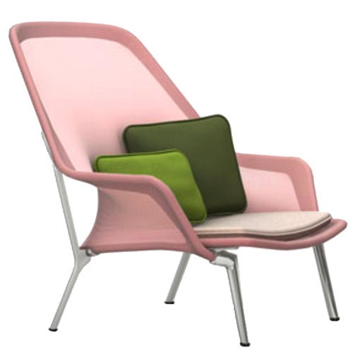 Vitra Slow Chair, red/cream - aluminium