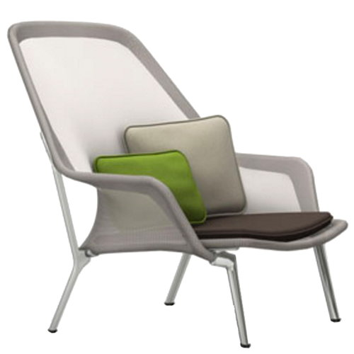 Vitra Slow Chair, brown/cream - aluminium