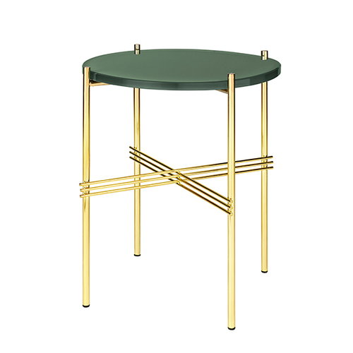Gubi TS coffee table, 40 cm, brass - green glass