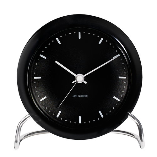 Arne Jacobsen AJ City Hall table clock with alarm, black