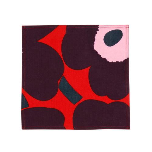Marimekko Pieni Unikko honeycomb mini towel, red - purple - pink