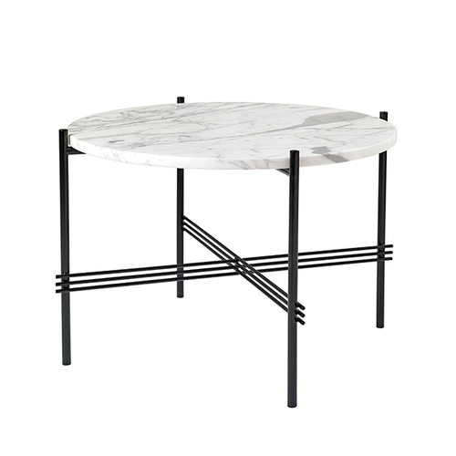 Gubi TS coffee table, 55 cm, black - white marble