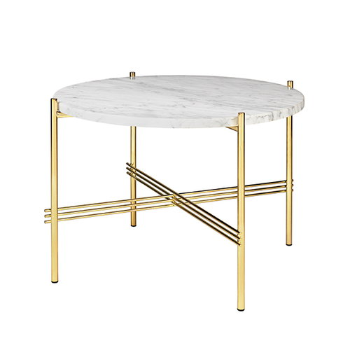 Gubi TS coffee table, 55 cm, brass - white marble