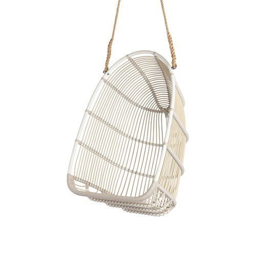 Sika-Design Renoir swing chair with cushion, exterior, white