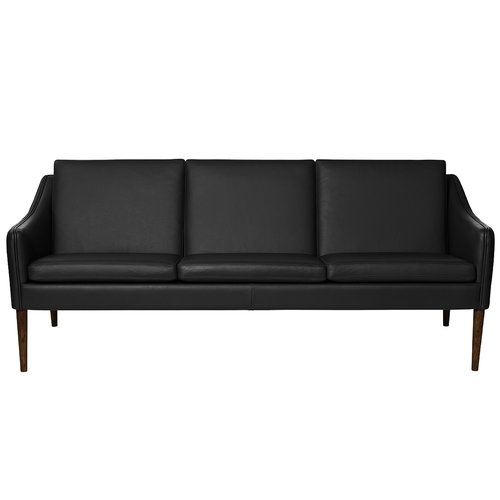 Warm Nordic Mr Olsen sofa, 3-seater, walnut - black leather