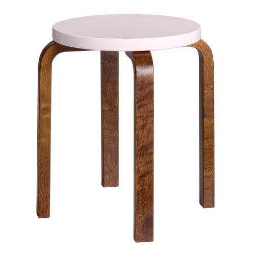 Artek Aalto stool E60, pink - walnut