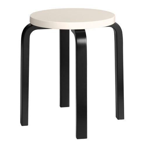 Artek Aalto jakkara E60, kerma - musta