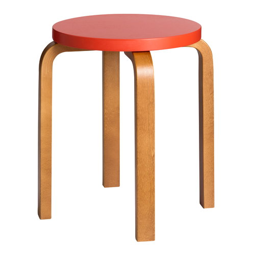 Artek Aalto stool E60, red orange - honey