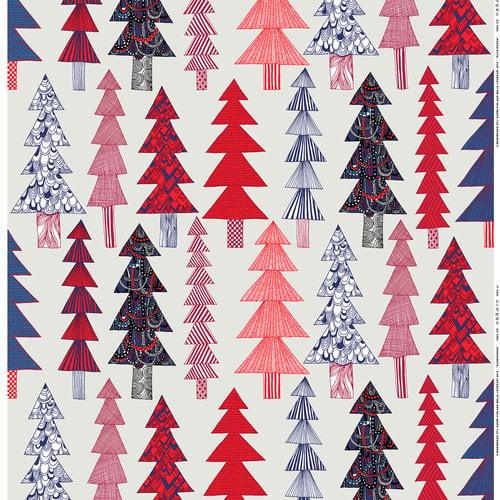Marimekko Kuusikossa kangas, v.harmaa-punainen-sininen