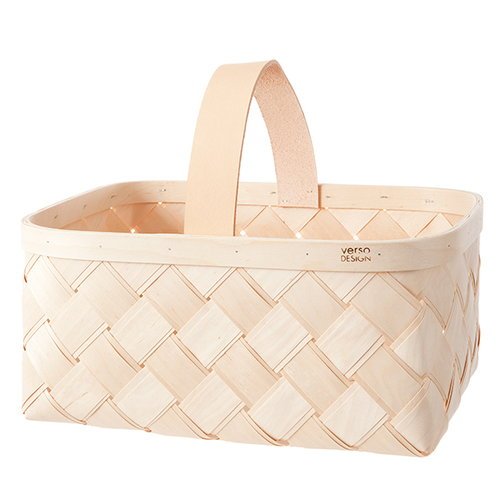 Verso Design Lastu basket, leather handle, L