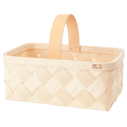 Verso Design Lastu basket, leather handle, S
