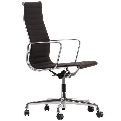Vitra Aluminium Chair EA 119, kromi - musta/ruskea