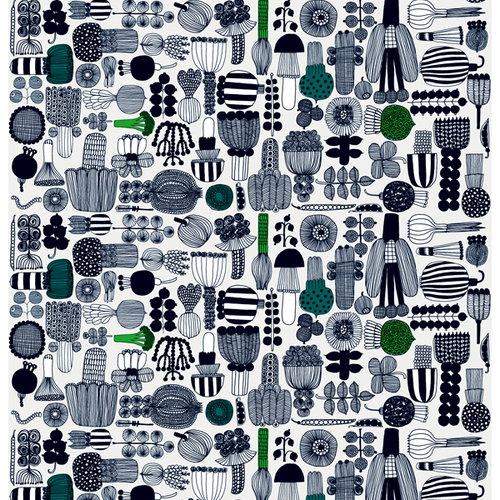 Marimekko Puutarhurin parhaat fabric, black-green