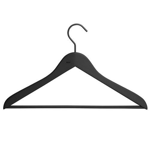 Hay Soft coat hanger with bar, slim, black, 4 pcs
