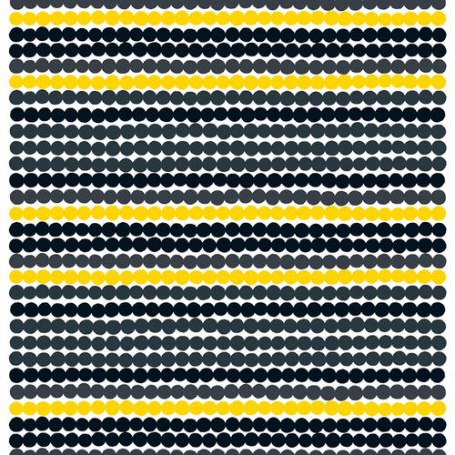 Marimekko R�symatto fabric, black-yellow