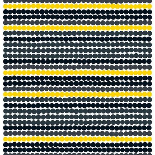 Marimekko R�symatto kangas, musta-keltainen