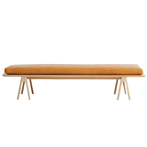 Woud Level daybed, white pigmented oak - cognac leather