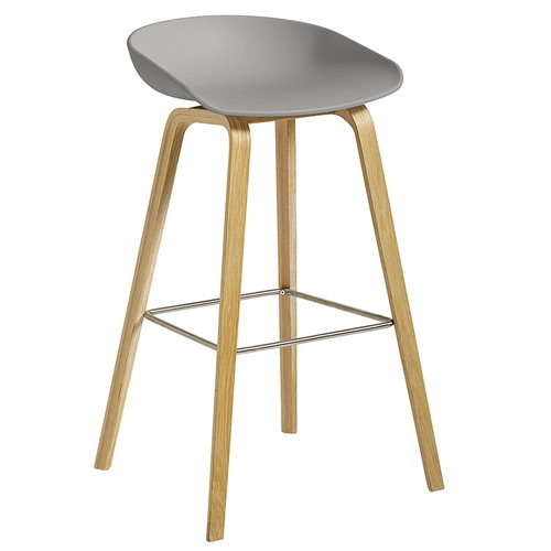 Hay About A Stool AAS32, concrete grey - lacquered oak, 75 cm