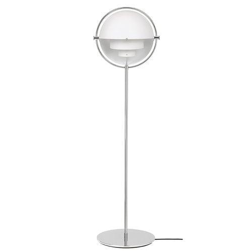 Gubi Multi-Lite floor lamp, chrome - white