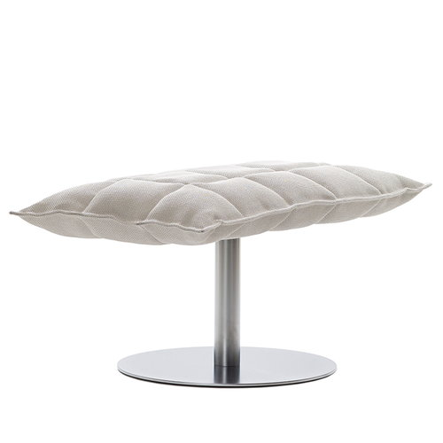 Woodnotes K ottoman, wide, base plate, stone - white