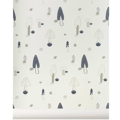 Ferm Living Forest tapetti, sininen/beige