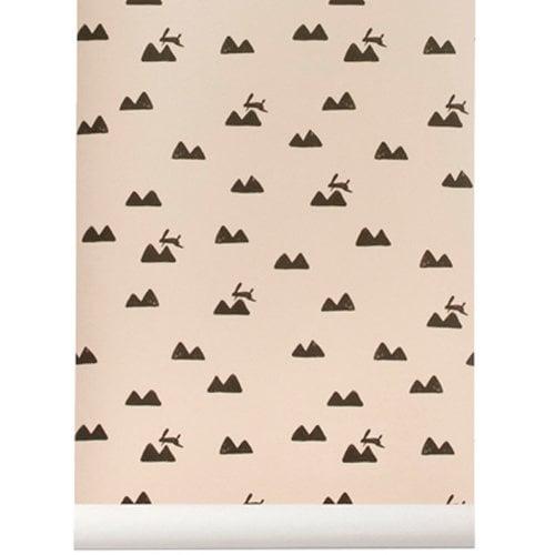 Ferm Living Rabbit wallpaper, rose