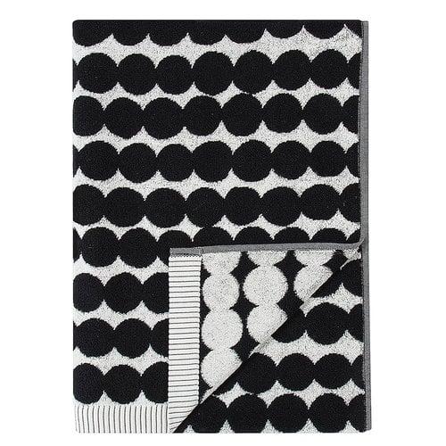 Marimekko Räsymatto kylpypyyhe, musta-valkoinen