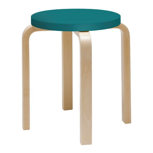 Artek Aalto stool E60, turquoise - birch