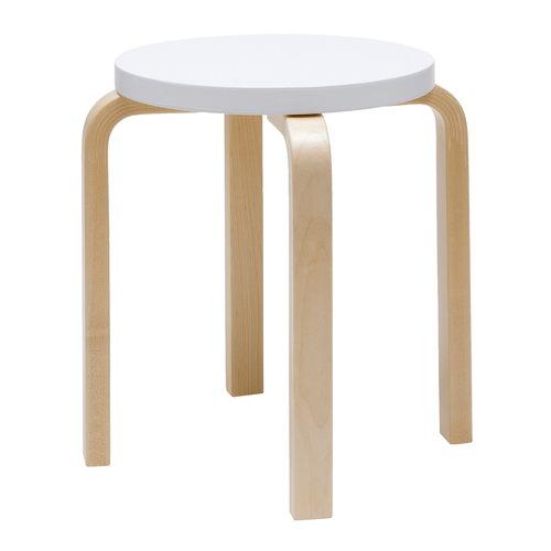 Artek Aalto stool E60, white - birch