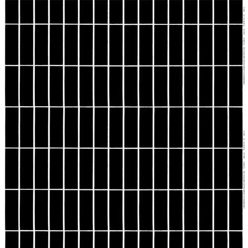 Marimekko Tiiliskivi kangas, musta-valkoinen