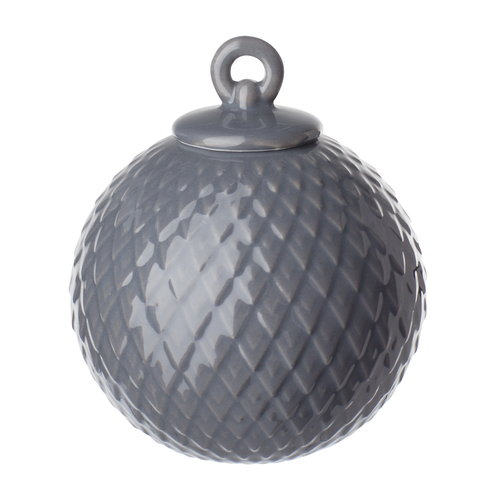 Lyngby Porcelain Rhombe porcelain bauble, dark grey